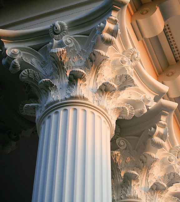 Columns - Fiberglass, paint grade or stain grade wood structural columns or aluminum and PVC decorative column wraps at Designer Showcase.